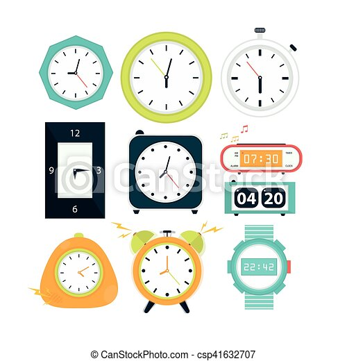 Types Of Alarms Clocks Digital Watch And Timer Stopwatch And Hourglass Symbol Of Time Flat Style Illustrations Isolated