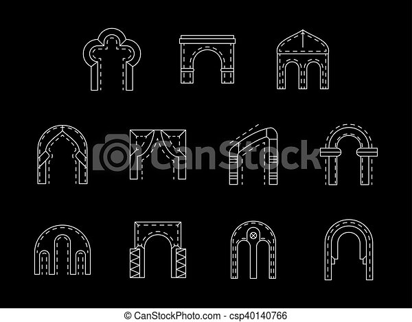 Types of arch white line vector icons collection
