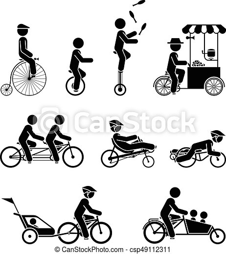 Types Of Bicycles >> Types Of Bicycle Set Of Pictograms Representing People Riding
