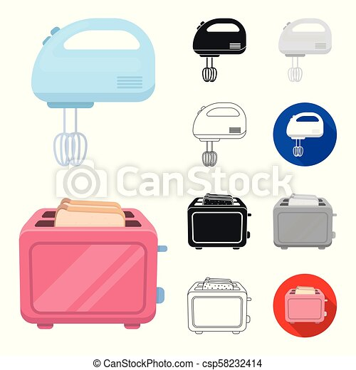 Types of household appliances cartoon, black, flat, monochrome, outline icons in set collection for design. Kitchen equipment vector symbol stock web illustration. - csp58232414