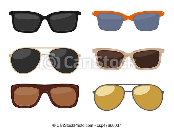 Types of sunglasses. Vector color flat illustration on white background - csp47666037