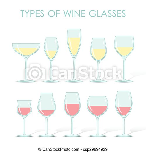 7758f872469e Types of wine glasses. Set of types of wine and glasses red white ...