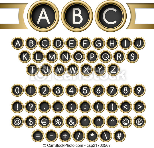 Typewriter buttons alphabet - csp21702567