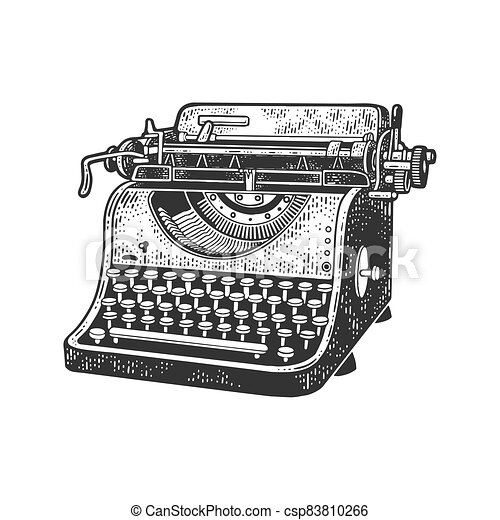 typewriter sketch engraving vector illustration. T-shirt apparel print design. Scratch board imitation. Black and white hand drawn image. - csp83810266