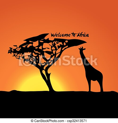 Typical African sunset - csp32413571