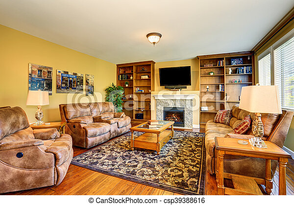 typical american living room design with fireplace and sofa set csp39388616 - American Living Room Design