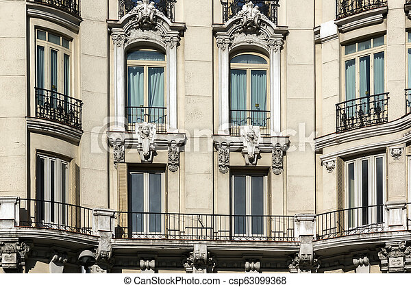Typical building in the center of City of Madrid - csp63099368