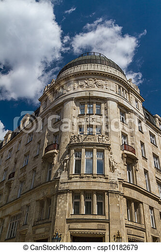 typical buildings 19th-century in Buda Castle district of Budapest - csp10182679