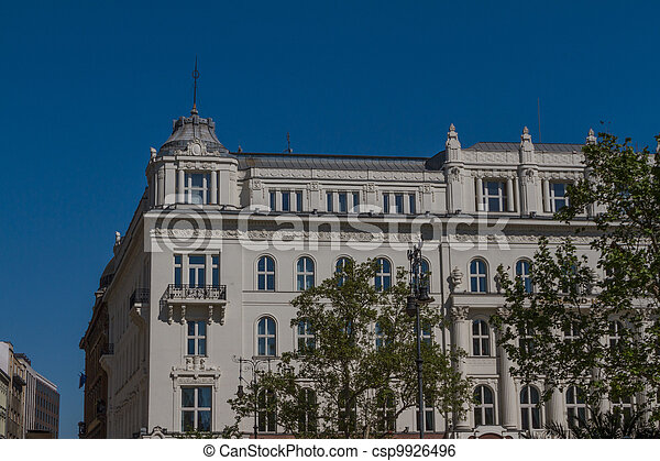 typical buildings 19th-century in Buda Castle district of Budapest - csp9926496