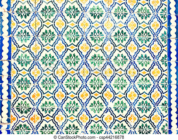 Typical colorful Moroccan ornamental wall background - csp44216878