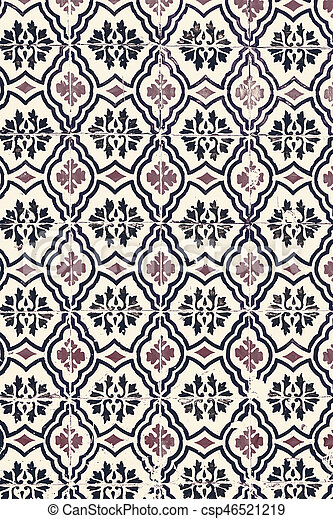 Typical colorful Moroccan ornamental wall background - Lisbon, Portugal December 26, 2016 - csp46521219