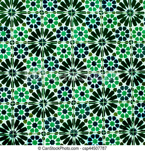 Typical colorful Moroccan ornamental wall background - csp44507787