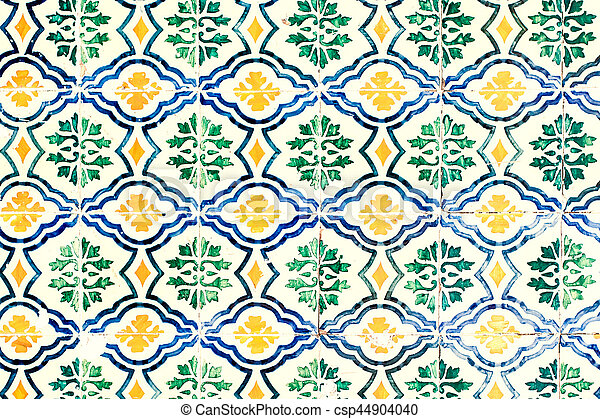 Typical colorful Moroccan ornamental wall background - Lisbon, Portugal December 26, 2016 - csp44904040