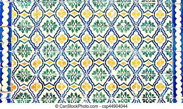 Typical colorful Moroccan ornamental wall background - Lisbon, Portugal December 26, 2016 - csp44904044