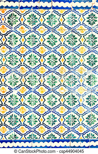 Typical colorful Moroccan ornamental wall background - csp44904045