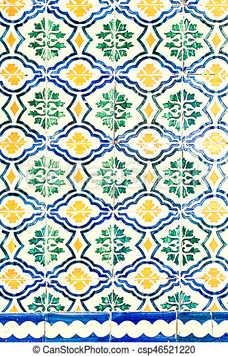Typical colorful Moroccan ornamental wall background - csp46521220