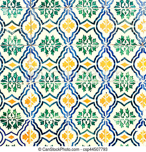 Typical colorful Moroccan ornamental wall background - csp44507793