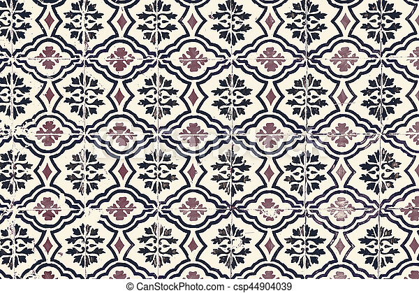 Typical colorful Moroccan ornamental wall background - Lisbon, Portugal December 26, 2016 - csp44904039