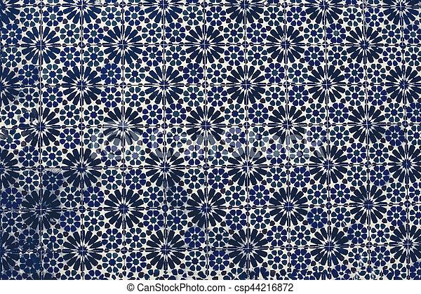 Typical colorful Moroccan, Portuguese tiles, Azulejo, ornaments - arabic wall design - Lisbon, Portugal December 26, 2016 - csp44216872