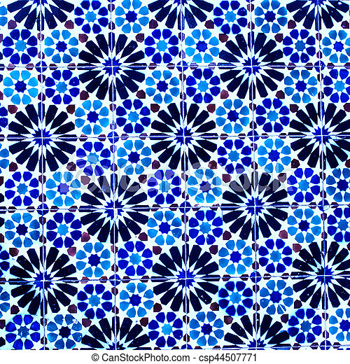 Typical colorful Moroccan, Portuguese tiles, Azulejo, ornaments - arabic wall design - Lisbon, Portugal December 26, 2016 - csp44507771