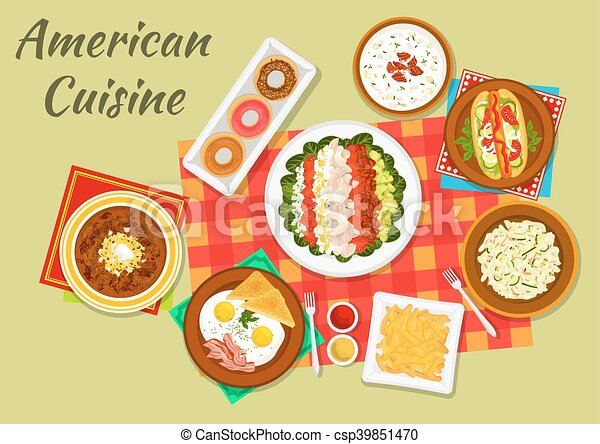 Cuisine Illustration typical dishes of american cuisine dinner icon. american cuisine