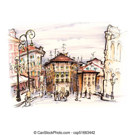 Typical italian house on piazza bra, verona, italy ...