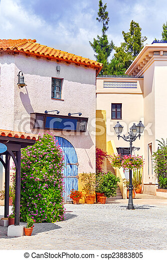 Typical landscapes and authentic Catalan cozy streets in cities of  Spain.  - csp23883805