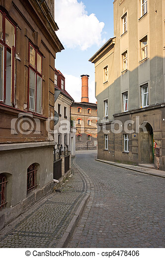 Typical narrow street in European country - csp6478406