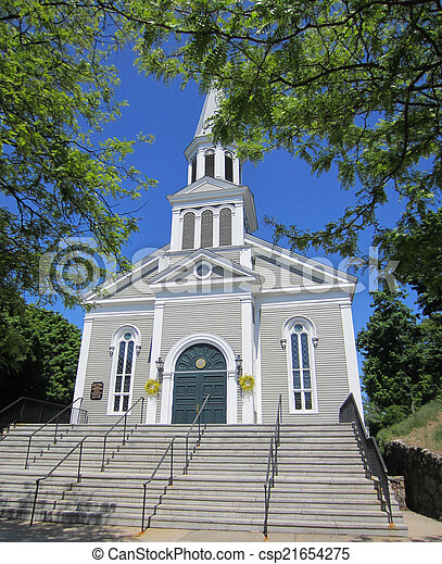 typical new england church - csp21654275