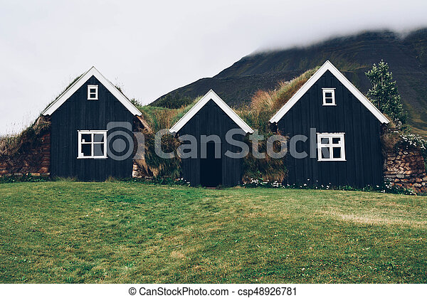Typical small houses in Iceland. - csp48926781
