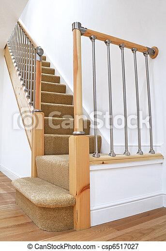 Typical UK British Stairs with Chrome Railing - csp6517027