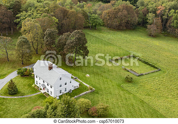 typical wooden small farm house in victorian style in Bennington - csp57010073