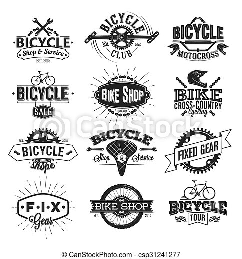 Typographic Bicycle Label Design and Logo - csp31241277