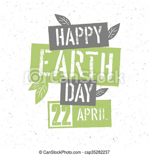 typographic design for earth day concept poster with green leaves