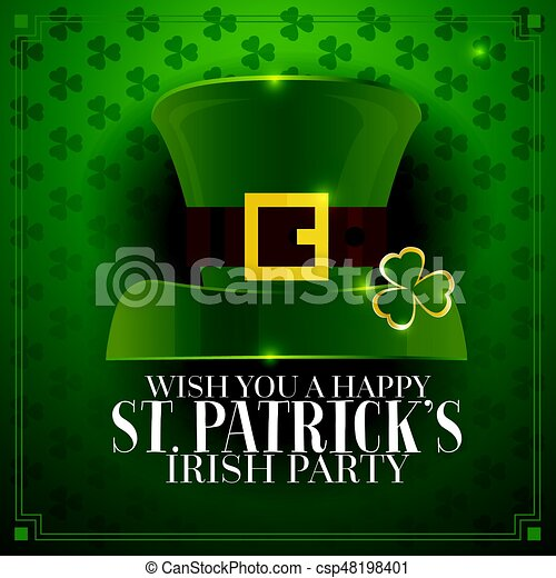 7c576480 Typographic saint patrick's day retro background with green hat. vector  illustration. template for party flyers. st. patrick's day poster.