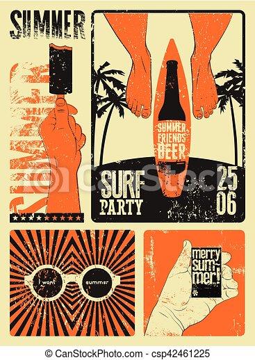 Typographic Summer Party grunge retro poster design. Vector illustration. - csp42461225