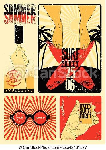 Typographic Summer Party grunge retro poster design. Vector illustration. - csp42461577