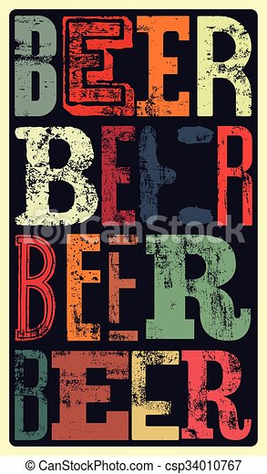 Typographical Vintage Style Beer Poster Design Retro Grunge Vector Illustration