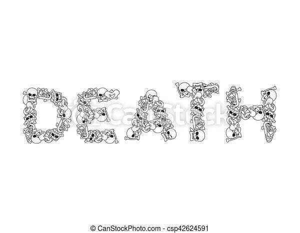 Typography., muerte, cartas, cráneo, mandíbula, spine., anatomía ...