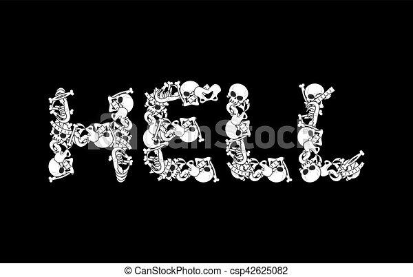 Typography., muerte, cartas, cráneo, mandíbula, signo., spine ...