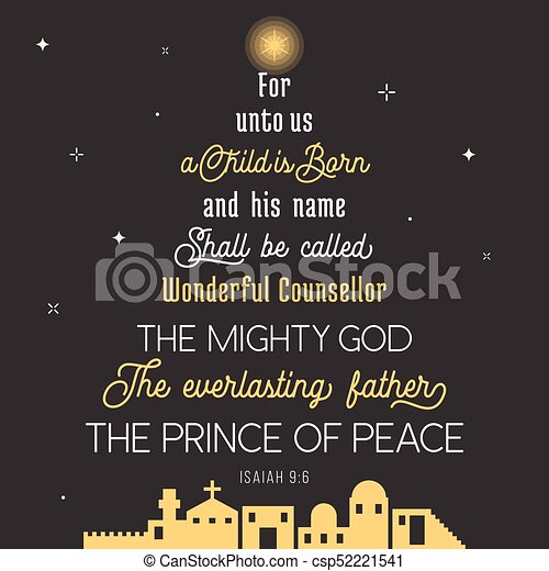 Typography of bible verse from chronicles for christmas, for unto us ...