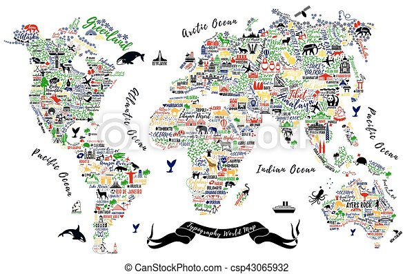 Typography world map travel typography poster with cities and travel typography poster with cities and sightseeing attractions inspirational vector typography travel guide gumiabroncs Choice Image