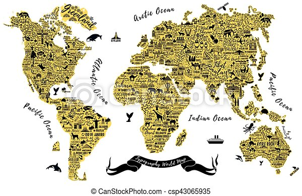 Typography world map travel typography poster with cities and vector typography world map csp43065935 gumiabroncs Images