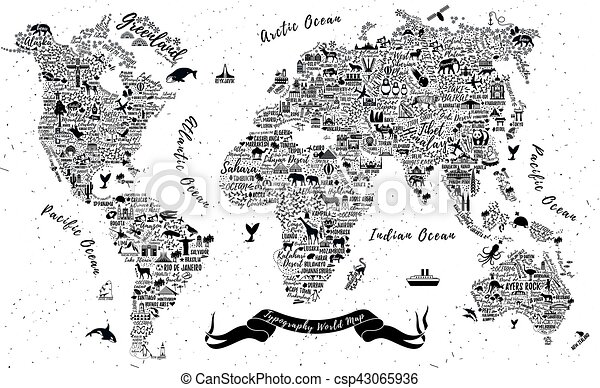 Typography World Map Travel Typography Poster With Cities And