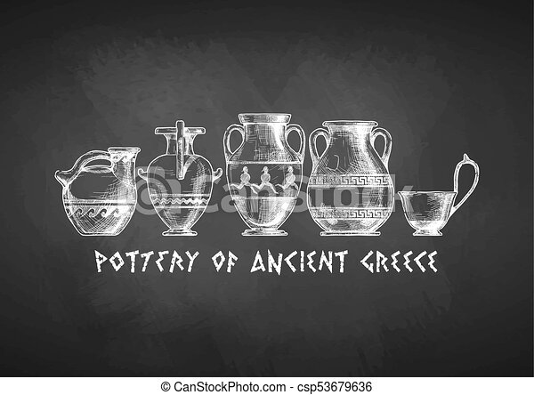 Typology Of Greek Vase Shapes Pottery Of Ancient Greece Vases Set