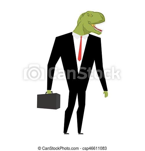 Tyrannosaurus businessman. dinosaur is boss. Dino manager. Suit and case - csp46611083