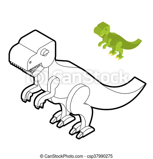 Tyrannosaurus Coloring Book Dinosaur Isometric Style Prehistoric