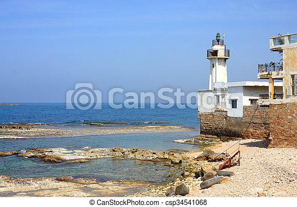 Tyre Lighthouse, Lebanon - csp34541068