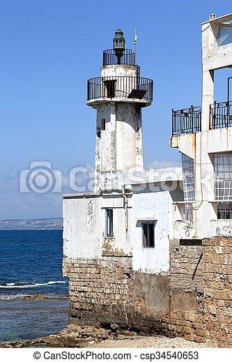 Tyre Lighthouse, Lebanon - csp34540653