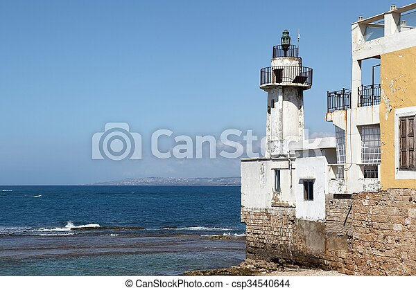 Tyre Lighthouse, Lebanon - csp34540644